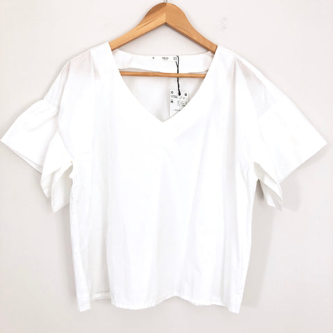 MNG White Wide Cut Flutter Sleeve- Size M