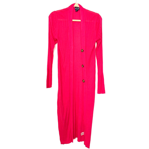 Scoop Magenta Button Up Long Sleeve Cardigan- Size M (See Notes)