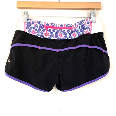 Lululemon Black and Purple Floral Pattern Panel Speed Shorts- Size 4