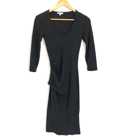 James Perse Dark Grey 3/4 Sleeve Fitted Dress- Size 0