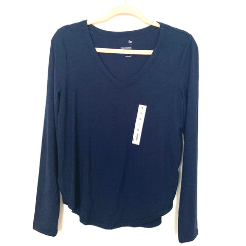 So Navy Blue Favorite Long Sleeve V-Neck Top NWT- Size S