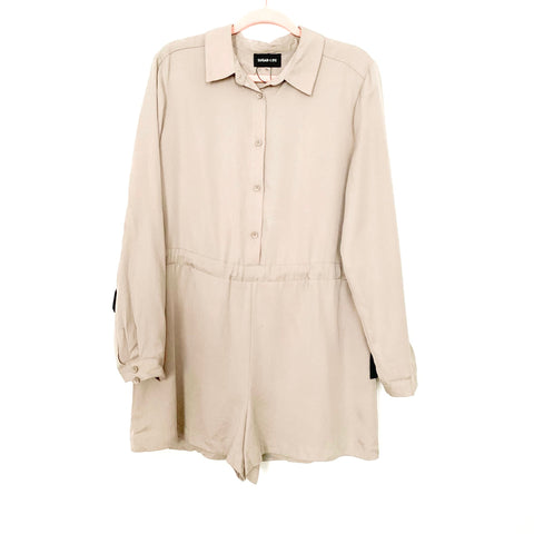 Sugar + Lips Tan Half Button Up and Side Tie Romper- Size L (see notes)