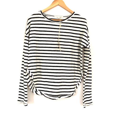 Lovestitch Black Striped Round Hem Distressed Long Sleeve Top NWT- Size S