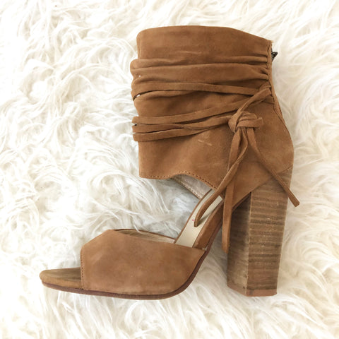 Kristin Cavallari by Chinese Laundry Tan Suede Leigh Ruched Heel- Size 7.5