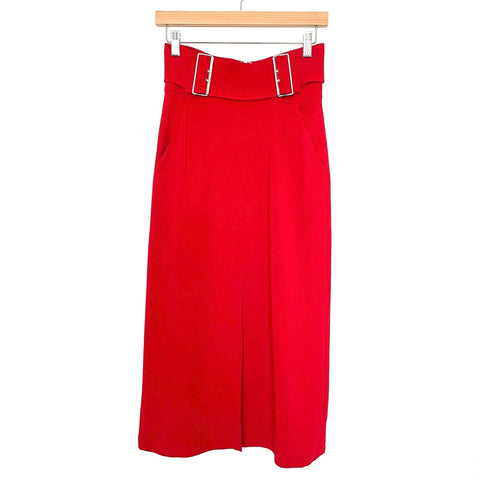 A.L.C. Red Front Slit Buckle Midi Skirt NWT- Size 0