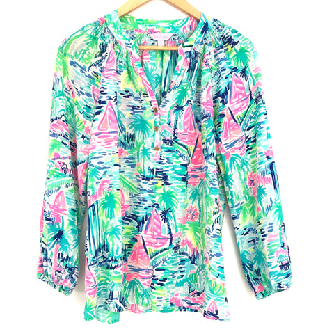 Lilly Pulitzer Silk Boat Ruched Detail Blouse- Size S