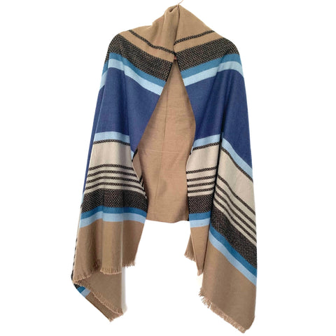 No Brand Blue And Brown Blanket Scarf