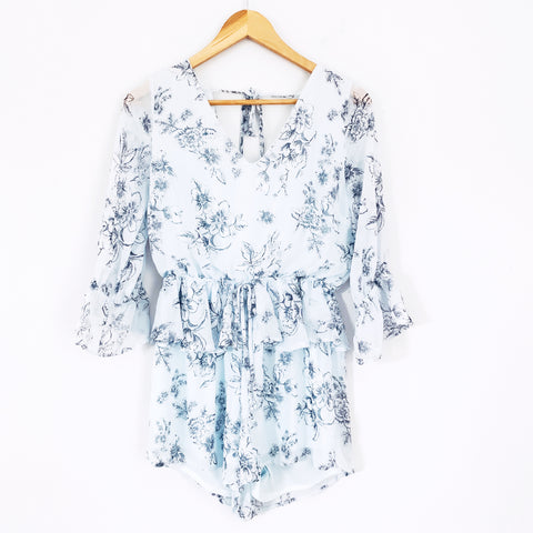 Peach Love Light Blue Floral Romper- Size S