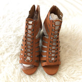 Bamboo Cognac Strapy Heel with Elastic- Size 7.5 (Brand new!)