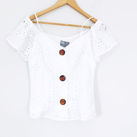 ASOS White Eyelet Off the Shoulder Button Up Top NWT- Size 0