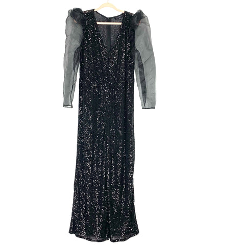 Eloquii Black Sequins Sheer Puff Sleeve Jumpsuit- Size 14