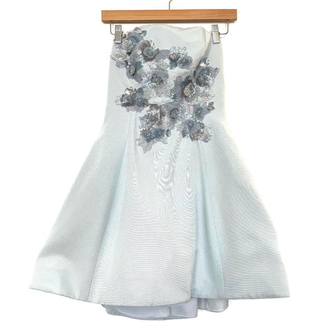 Marchesa Light Blue Sequins Floral Strapless Cotton and Silk Blend Mini Dress NWT- Size 2