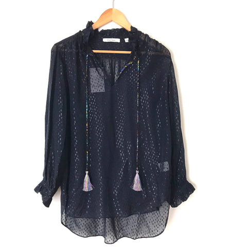 Robert Graham Navy Metallic Ruffle Neck Silk Chiffon Semi Sheer Blouse NWT- Size S