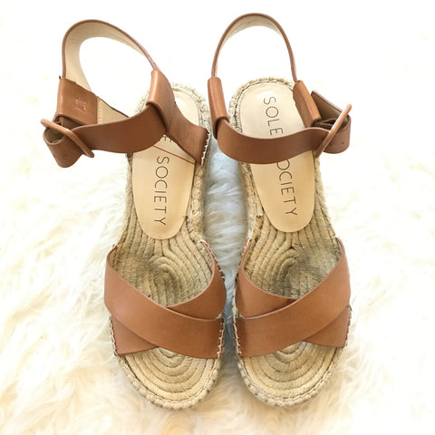 Sole Society Leather Espadrille Sandals- Size 10