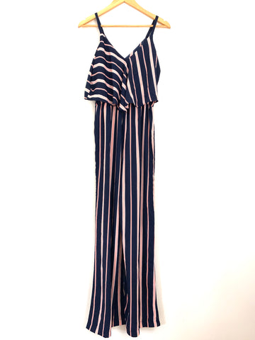 Charles Henry Navy & Pink Striped Jumpsuit NWT- Size XS