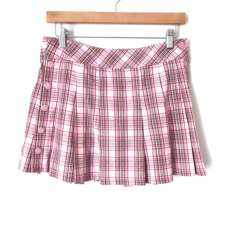 Limited Too Pink Plaid Pleated Hem Skirt- Size 16 (Youth 16)