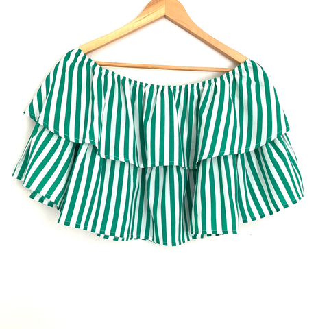 A.Calin by Flying Tomato Green Striped Off the Shoulder Blouse- Size S