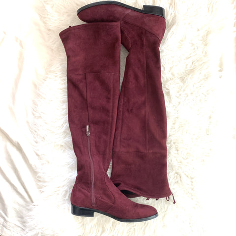 Vince Camuto Maroon Over the Knee Lace Up Boots- Size 8