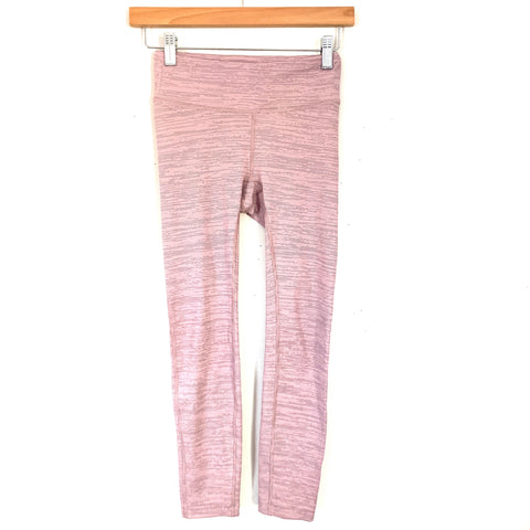 "Outdoor Voices Pink/Grey Striped Crop Legging- Size XS (Inseam 22.5"")"