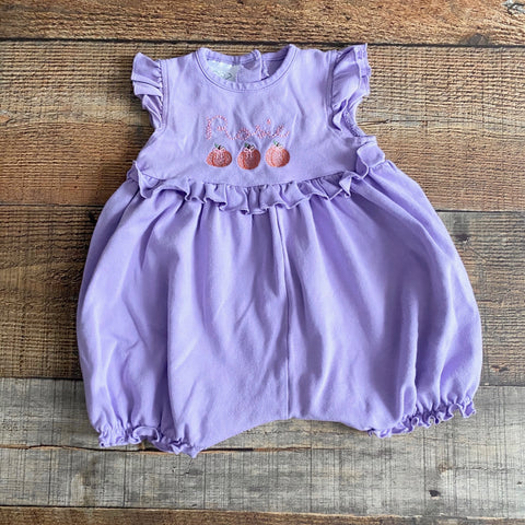 Bambino Purple Embroidered Pumpkin and Rosie Ruffle Romper- Size 9M