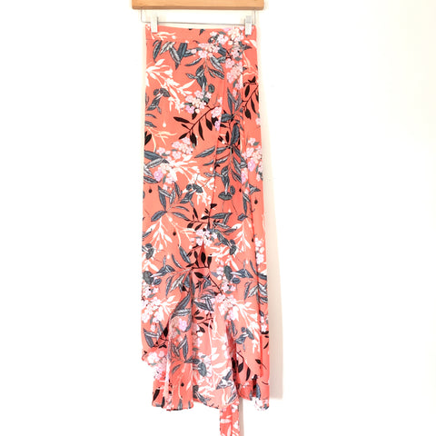 Bebe Coral Floral Faux Wrap Skirt- Size 00