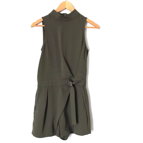 TOPSHOP Deep Olive Halter Romper with Belt- Size 2
