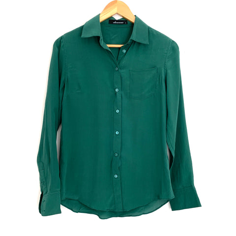 Olivaceous Green Button Up Silk Blouse- Size S