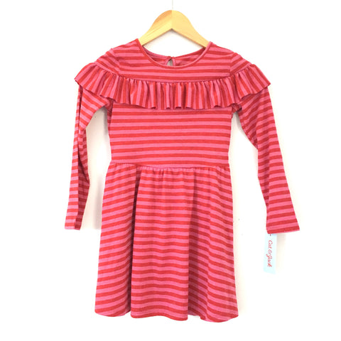 Girl's Youth Cat and Jack Pink Striped Ruffle Sparkle Dress NWOT- Size S(6/6X)