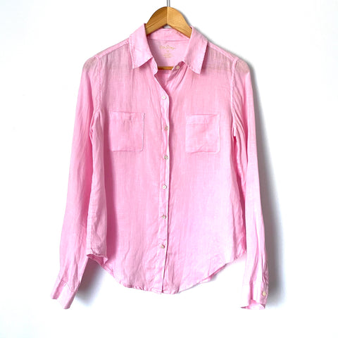 Lilly Pulitzer Pink Linen Button Up- Size XS