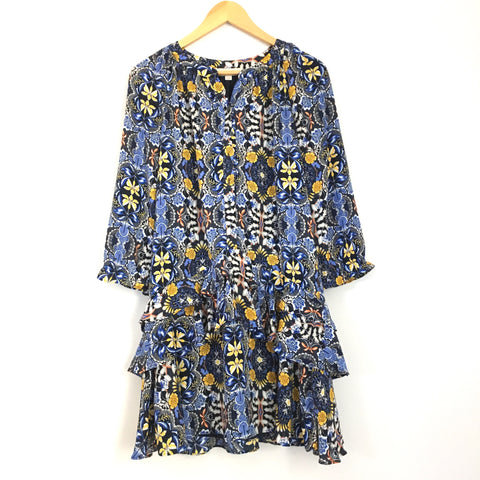 LOFT Floral Button Up Ruffle Dress- Size XS