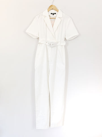 Kittenish White Short Sleeve Belted Jumpsuit NWT- Size S