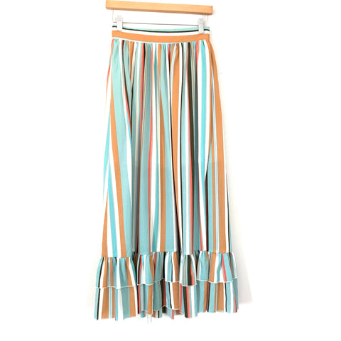 Listicle Colorful Striped Two Piece High Slit Skirt Set- Size S
