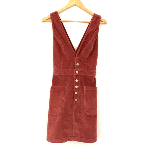 Re:named Corduroy Button Front Deep V Dress- Size S