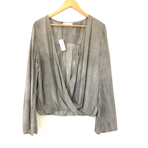 Honey Punch Grey Wash Open Front Blouse NWT- Size S