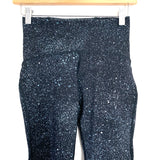 "Lululemon Black with Baby Blue Paint Specks Legging with Side Mesh Detail- Size 4 (Inseam 24"")"