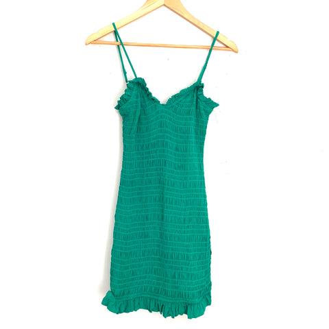 Lovers + Friends Green Smocked Mini Dress- Size S