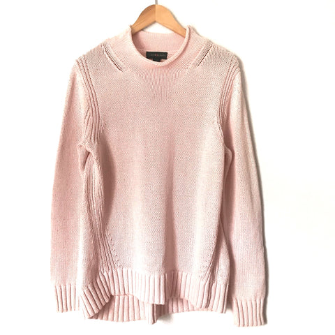 J. Crew Pink Rollneck Cotton Knit Sweater-Size L