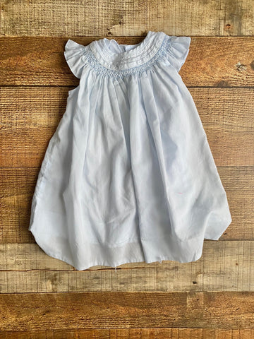 Petit Ami Blue Smocked Hand Embroidered Dress- Size 6M (see notes)