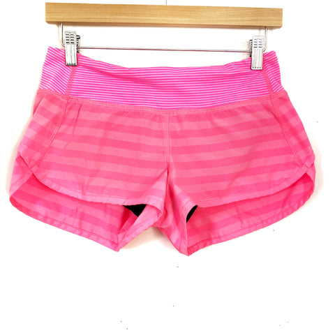 Lululemon Bright Pink Stripe Speed Shorts- Size 4