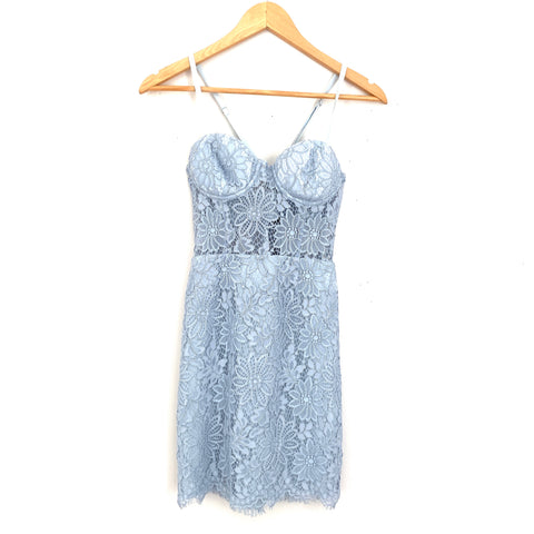 NBD X Naven Blue Lace Bra Top Dress with Sheer Center NWT- Size XS