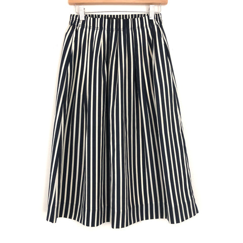 J Crew Navy Striped Midi Skirt- Size 2