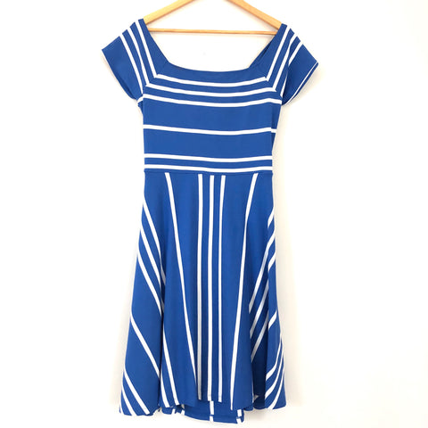 LOFT Blue Striped Dress with Exposed Back- Size L