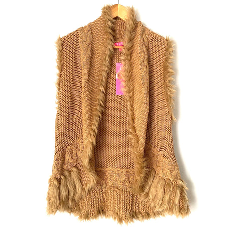"Lilly Pulitzer ""Torini"" Faux Fur Sweater Vest NWT- Size XL"