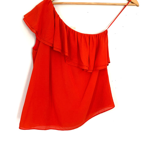 Rebecca Taylor One Shoulder Orange/Red Silk-Crepe Ruffle Blouse- Size 0