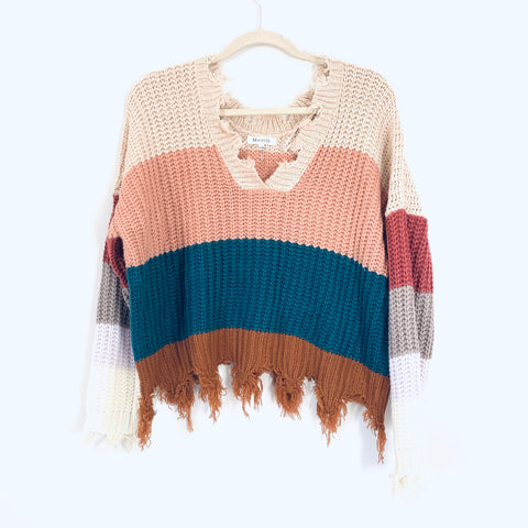 Miracle Striped Pink & Blue Sweater with Fringe- Size S/M