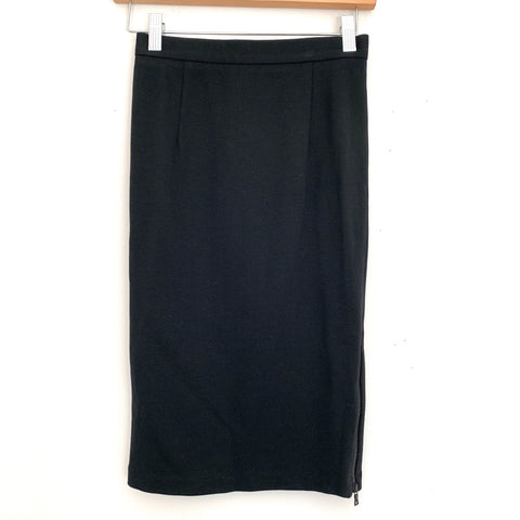 Alice + Olivia Black Pencil Skirt with Side Zipper- Size 2