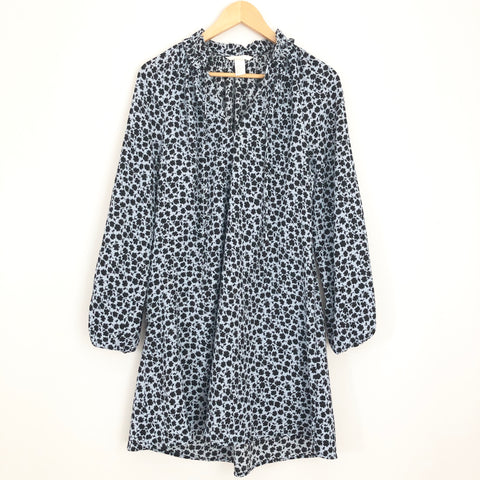 H&M Ruffle Collar Navy Floral Dress- Size 4