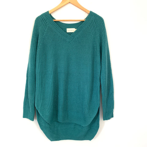 Dreamers Teal V Neck Knit Sweater- Size S/M