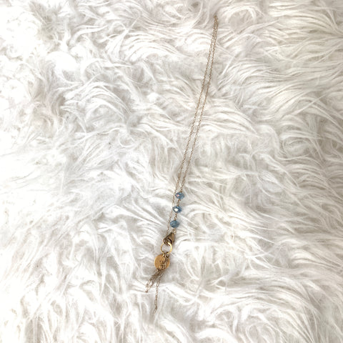 No Brand Gold Chain Necklace with Blue Beads on Neck