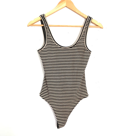Dress Forum Black & Tan Ribbed Thong Bodysuit- Size S